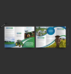 Village farmer tri fold brochure vector