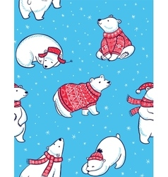 Winter seamless pattern with polar bears in vector image