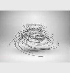Wireframe mesh element abstract swirl form vector