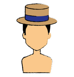 young man shirtless with hat avatar character vector image