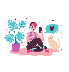 young woman blogger sitting on floor and vector image