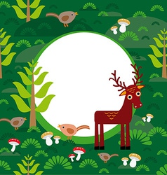 background green forest with deer fir trees vector image vector image