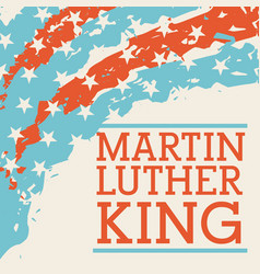 Martin luther king lettering and usa flag corner vector