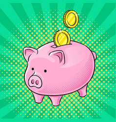 Piggy bank and golden coins pop art vector