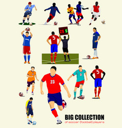 big collection of football soccer players colored vector image vector image