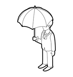 Business man with umbrella icon outline style vector image vector image