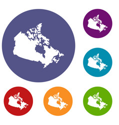 canada map icons set vector image vector image