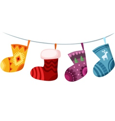 christmas stockings vector image vector image