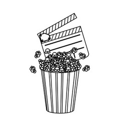 clapper board and pop corn icon vector image