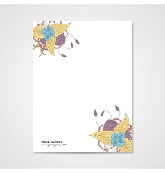 Template letterhead with abstract hamd drawn vector