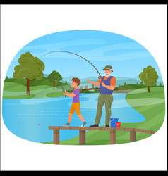 young boy standing on a pier with grandfather and vector image
