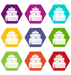 big cake icon set color hexahedron vector image