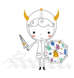 Fairytale viking - rain kids vector image vector image