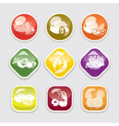 fruit glossy buttons vector image