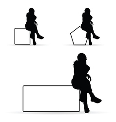 girl silhouette siting on white banner vector image vector image