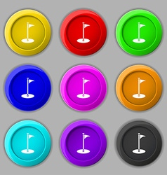 Golf icon sign symbol on nine round colourful vector image