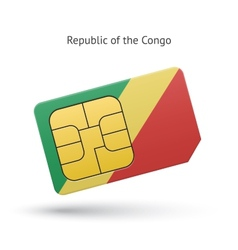 Republic of the Congo mobile phone sim card with vector image