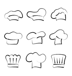 Set of chef hats isolated on white background vector image vector image