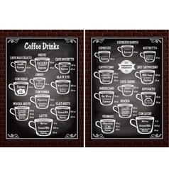 set of cups with different coffee drinks for vector image