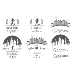 Set of Kickball Logo Badges and Emblems vector image
