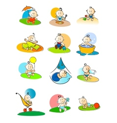 Set of small babies enjoying various activities vector image vector image