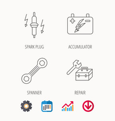 Accumulator spanner tool and car service icons vector