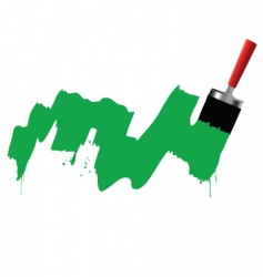 brush and green paint vector image vector image