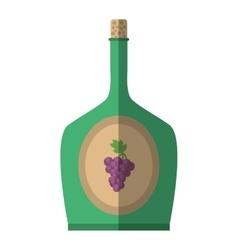green wine bottle grape celebration cork shadow vector image