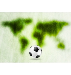 Grunge green map and football vector image vector image