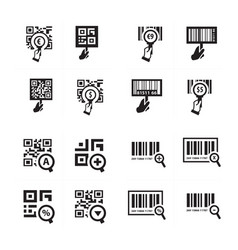 hand and zoom qr code icon set vector image vector image