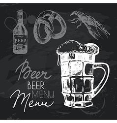 Oktoberfest beer hand drawn chalkboard design set vector image