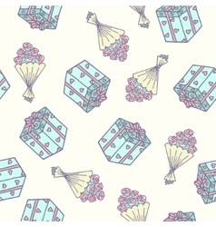 Romantic seamless pattern with bouquet of roses vector image vector image