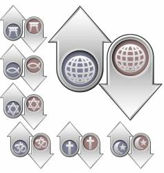 world religion popularity icons vector image vector image