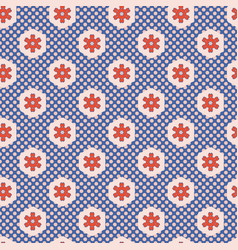 1950s style hexagon patchwork polka dot seamless vector image