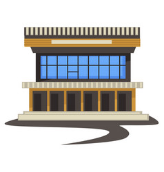 1980s style architecture vintage building or vector