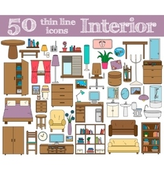 50 icons for Interior Thin line set in bright vector image