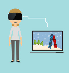 A virtual reality trip to the ski resort vector