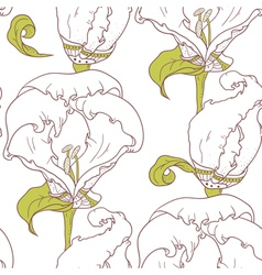 Abstract outline floral seamless pattern vector