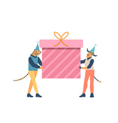 animal characters holding big gift box with ribbon vector image