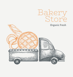 Bakery delivery logo template hand drawn truck vector
