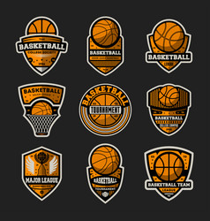 Basketball tournament vintage isolated label set vector