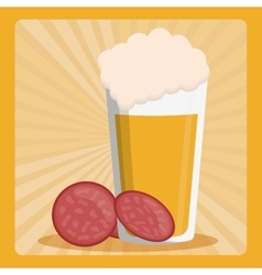 Beer glass foam with sliced salami vector