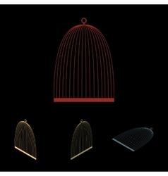 Bird cage icon set vector image