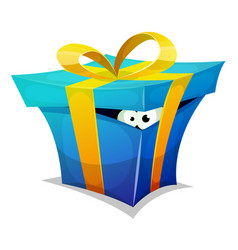 Birthday gift box with fun creature inside vector