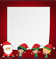 Border template with kids and santa vector