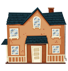 Brick house with blue roof vector