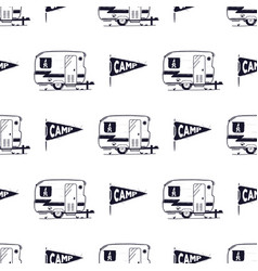 Camping rv seamless pattern with camp pennant vector