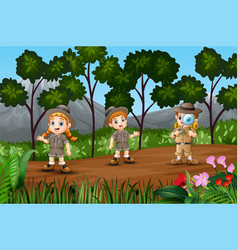 Cartoon a children exploring in the forest vector