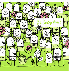 Cartoon people and happy spring card vector