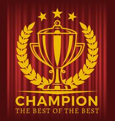 Champion best best golden cup vector